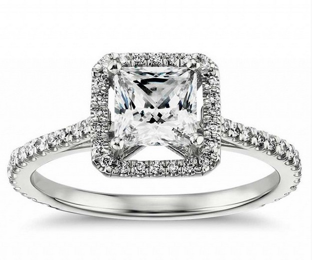 Blue Nile Princess-Cut Floating Halo Diamond Engagement Ring ($5018)