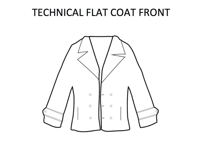 Technical Flat Peacoat Front